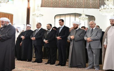 Syrian President Bashar Assad (fourth from right) taking part in Eid al-Fitr prayers in Homs on July 6, 2016. (SANA)
