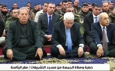 PA President Mahmoud Abbas listens to a Friday sermon by Dr. Habbash at the Presidential headquarters in Ramallah. (Courtesy: YouTube screenshot)