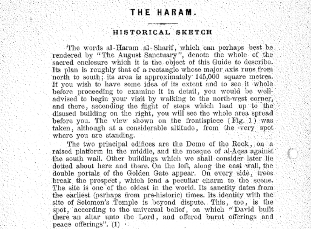 "Picture of the first page from the 1925 Waqf pamphlet. In the second to last sentence of the second paragraph, one can read the words: ""It's identity with the site of Solomon's temple is beyond dispute."" (courtesy: screen shot)"