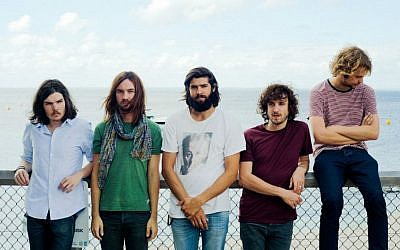 From left to right, Dominic Simper, Kevin Parker, Cam Avery, Julien Barbagallo and Jay Watson make up the Australian band Tame Impala, who arrived in Israel July 10, 2016, for a concert in Rishon Lezion the next day. (Courtesy Tame Impala)
