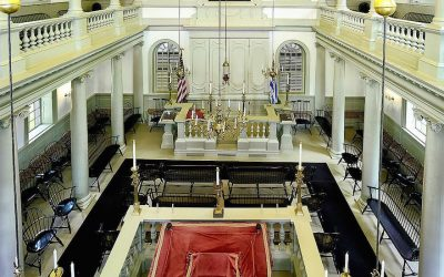 A view inside the Touro Synagogue in Newport, Rhode Island (Wikimedia Commons via JTA)
