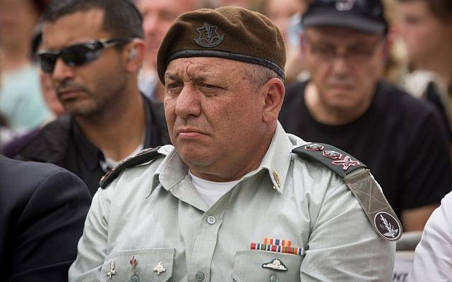 IDF Chief of Staff Gadi Eisenkot at a ceremony marking the 10th anniversary of the Second Lebanon War at the Mount Herzl military cemetery in Jerusalem, July 19, 2016. (Miriam Alster/Flash90)