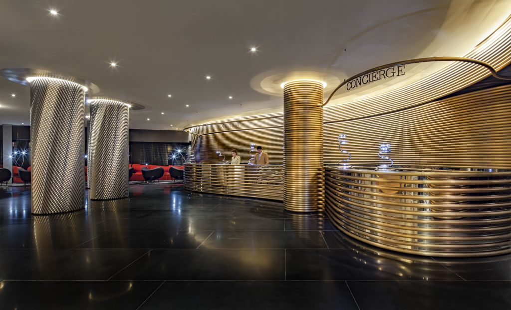 The lobby designed by Ron Arad in the newly refurbished Watergate Hotel. (Courtesy, The Watergate Hotel)