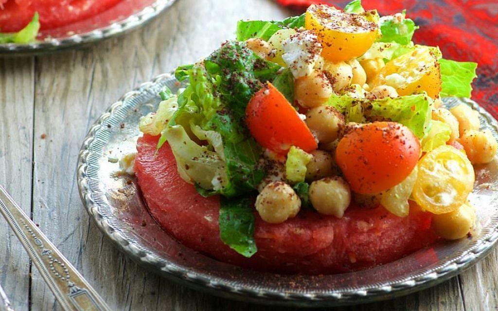 Watermelon Steak Topped with Chickpea and Feta Salad Recipe (Vicki Cohen and Ruth Fox/via JTA)