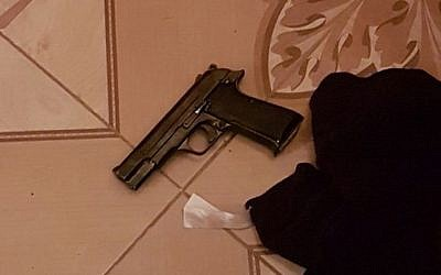 A pistol found during a raid by Israeli security forces in Urif, outside of Nablus, as part of a crackdown on illegal weapons in the West Bank on July 10, 2016. (Shin Bet)