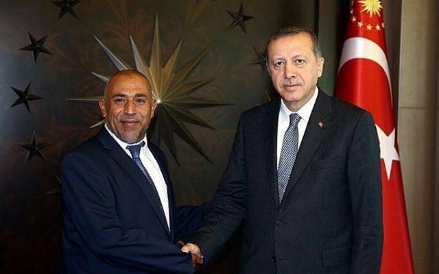 Joint (Arab) List MK Taleb Abu Arar with Turkey's President Recep Tayyip Erdogan. (Courtesy)