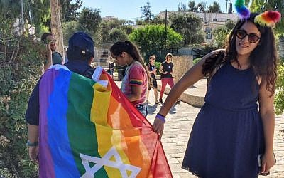 A participant at the Jerusalem Gay Pride Parade, July 21, 2016. (Sarah Tuttle-Singer)