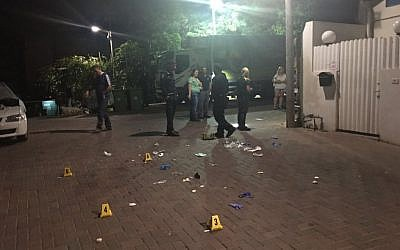 The scene at Petah Tikva Street in south Tel Aviv after a man was shot dead by police after pulling a gun on them, July 28, 2016. (Israel Police)