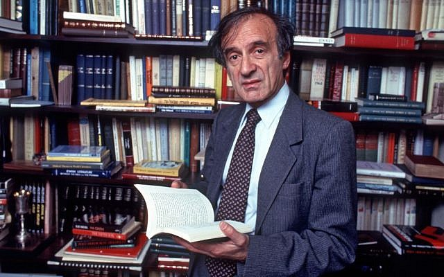 Elie Wiesel, the author of over 50 books, in the study of his New York City home, Oct. 14, 1986. (Allan Tannenbaum/Getty Images/via JTA)
