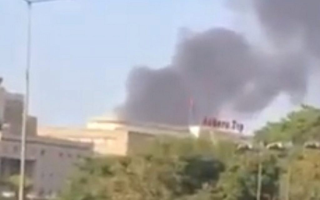 Smoke rises into the air in a still image taken from a video purportedly showing the aftermath of an explosion in Ankara, Turkey on July 19, 2016 (screen capture: YouTube)