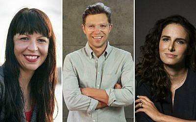 From left: Jennifer Keishin Armstrong, Jonah Lehrer, Jessi Klein (Jesse Jiryu Davis/Leah Lehrer/Robyn Von Swank/via JTA)
