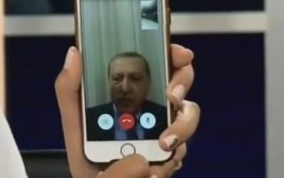 Turkish President Recep Tayyip Erdogan addresses Turks from a mobile phone on July 15, 2016 (YouTube screenshot)