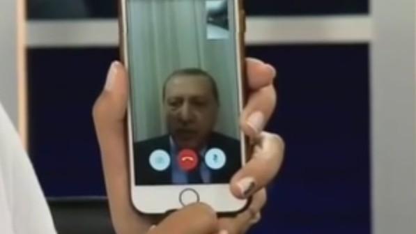 Turkish President Recep Tayyip Erdogan addresses Turks from a mobile phone on July 15, 2016 (YouTube screenshot)