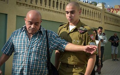 Sgt. Elor Azaria after a court hearing at a military court in Jaffa, July 24, 2016. (Flash90)