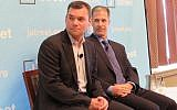 Peter Beinart (L) speaking at a J Street session on July 26, 2016. (JTA)