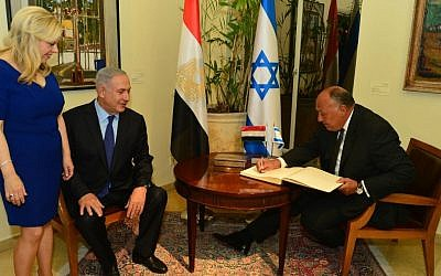 Prime Minister Benjamin Netanyahu and his wife Sara host Egypt's Foreign Minister Sameh Shoukry in their official residence in Jerusalem, July 10, 2016, during a visit to Israel for the first time in nearly a decade. (Kobi Gideon/GPO)