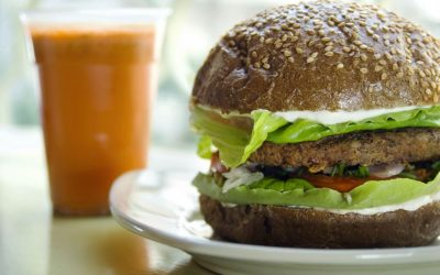 An illustrative vegan burger (Courtesy Buddha Burgers)