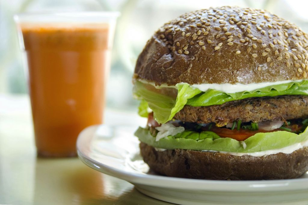 Vegans do burgers well -- a satisfying meatless alternative (Courtesy Buddha Burgers)