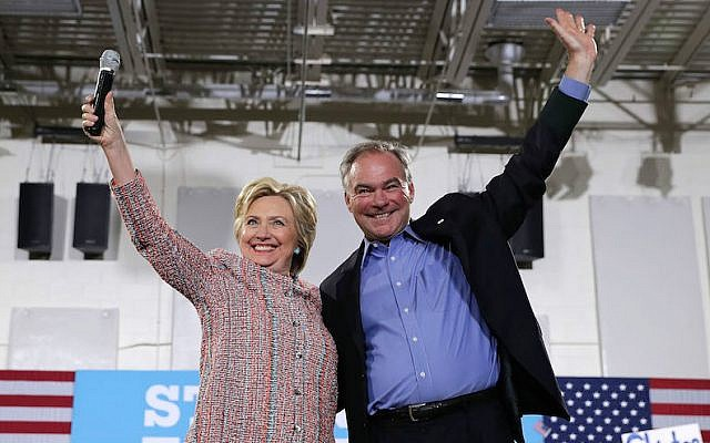 Hillary Clinton and Sen. Tim Kaine, D-Virginia, her choice for vice president, at a Clinton campaign event in Annandale, Virginia, July 14, 2016. (Alex Wong/Getty Images via JTA)