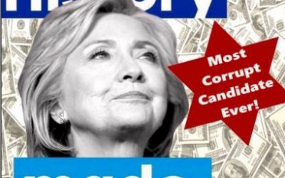 A tweeted picture by Donald Trump that uses a Star of David to call Hillary Clinton 'the most corrupt candidate ever!' (Screen shot)
