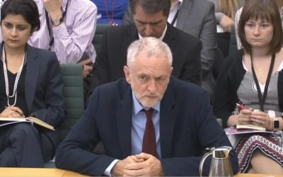 Britain's Labour Party leader Jeremy Corbyn responds to questions at a Home Affairs Committee hearing on anti-Semitism in the British Parliament on July 4, 2016. (screen capture: www.parliamentlive.tv)