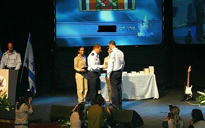Maj. Dani receives a citation for his service during the Second Lebanon War from commander of the Israeli Air Force Maj. Gen. Elyezer Shkedy in 2007. (courtesy)