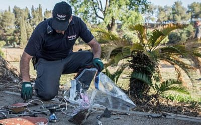 Security forces examine debris from Patriot Missiles fired at an unidentified drone that entered Israeli airspace from Syria, July 17, 2016. (Basel Awidat/Flash90)