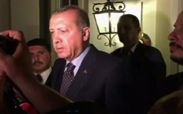Turkish President Recep Tayyip Erdogan speaks to the media Saturday, July 16, 2016 in Istanbul, after a military coup against his government failed. (screen capture: YouTube)