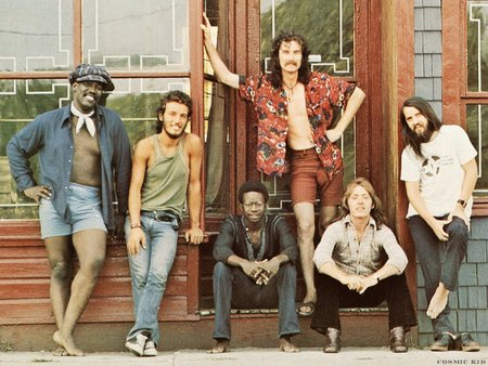 David Sancious (sitting, center) and the E Street Band as pictured on the back cover of 1973's The Wild, The Innocent & the E Street Shuffle