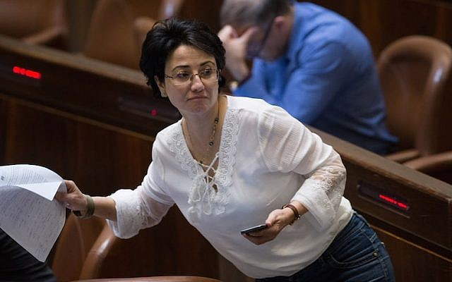 Joint List party member MK Hanin Zoabi in the Knesset plenum on July 11, 2016. (Yonatan Sindel/Flash90)