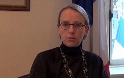 French Ambassador to Israel Hélène Le Gal (screen capture: YouTube)