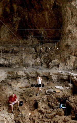 Hebrew University archaeologists uncover 12,000-year-old grave inside a cave in northern Israel (Naftali Hilger)