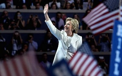 Hillary Clinton acknowledging the crowd during the fourth day of the Democratic National Convention at the Wells Fargo Center in Philadelphia, July 28, 2016. (Jessica Kourkounis/Getty Images/JTA)