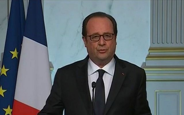 France's President Francois Hollande in a televised address early Friday, July 15, 2016, after a terrorist killed at least 80 people in a truck-ramming and shooting attack in the southern French city of Nice several hours earlier. (YouTube screen capture)