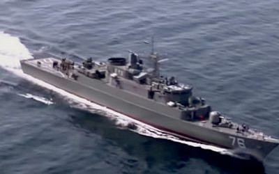 Illustrative: An Iranian navy vessel during a drill in the Strait of Hormuz. (YouTube screenshot)