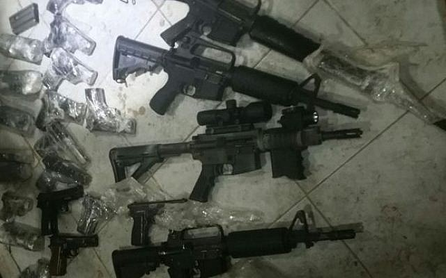 Weapons seized by Israeli security forces on July 19, 2016 during a smuggling attempt from Jordan into Israel. (IDF Spokesperson's Office)