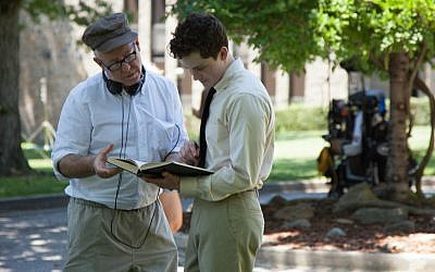 James Schamus, left, and Logan Lerman on the set of 'Indignation.' (Alison Cohen Rosa/via JTA)