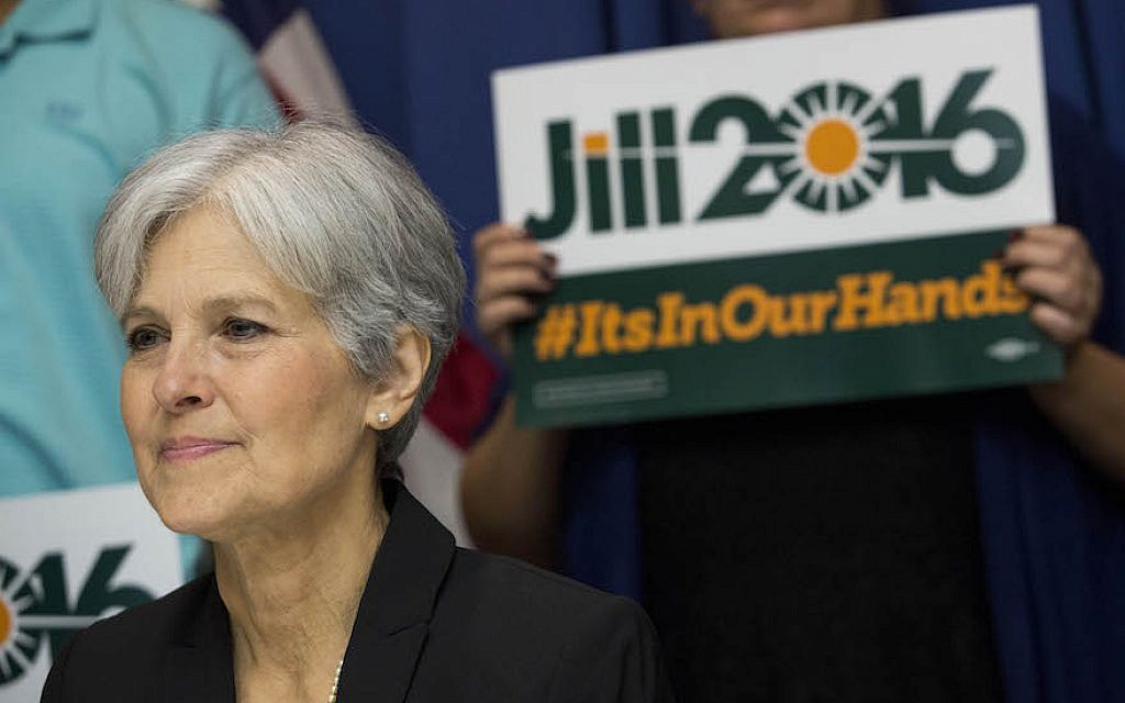 Jill Stein waits to speak before announcing that she will seek the Green Party's presidential nomination, at the National Press Club, June 23, 2015 in Washington, DC. (Drew Angerer/Getty Images via jta)
