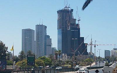 Tel Aviv skyscrapers (Simona Weinglass/Times of Israel)