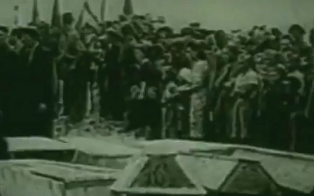 The funerals for the dozens of Jews killed in a 1946 post-Holocaust pogrom in Kielce, Poland (screen capture: YouTube)
