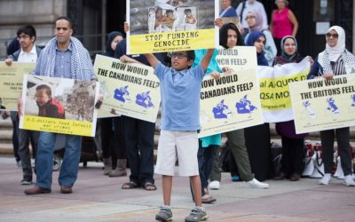 The Boston 'Al-Quds Day' demonstration on July 1, 2016, outside the Boston Public Library in Boston, Massachusetts (Elan Kawesch/The Times of Israel)