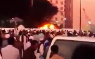 A fire rages at the scene of a suicide bombing in the Muslim holy city of Medina in Saudi Arabia on Monday, July 4, 2016 (screen capture: YouTube)