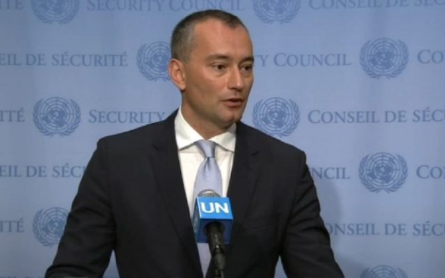 UN Special Coordinator for the Middle East Peace Process Nickolay Mladenov talks to reporters at the UN headquarters in New York on June 30, 2016. (screen capture: UN)