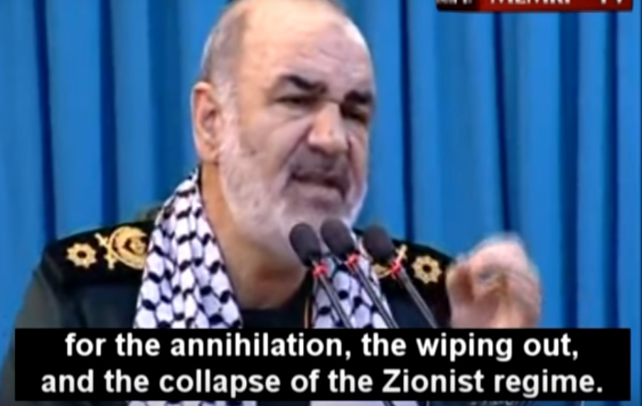 IRGC Deputy Commander Hossein Salami delivers a speech about the destruction of Israel on July 1, 2016 (screen capture: YouTube)