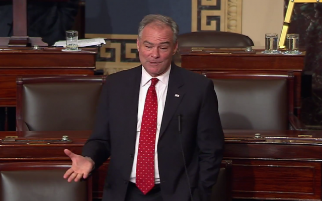 Sen. Tim Kaine, D-Virginia, speaking about Liviu Librescu, a Holocaust survivor and victim of the 2007 Virginia Tech shooting, during a Democratic filibuster in the US Senate, June 15, 2016. (YouTube screenshot via JTA)