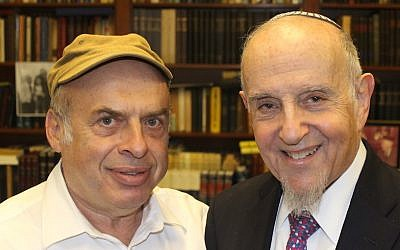 After Israel's Chief Rabbinate rejected a conversion performed by prominent modern Orthodox Rabbi Haskel Lookstein (right), Jewish Agency for Israel Chairman Natan Sharansky (left) protested on his behalf. (Ben Sales/JTA)