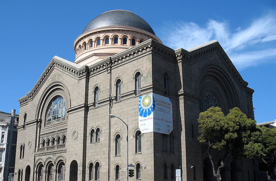 A view of Temple Shearith Israel in San Francisco, California. (WIkimedia Commons via JTA)