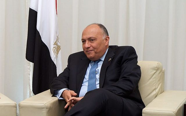 Sameh Shoukry meeting with John Kerry, not pictured, in Sharm el-Sheikh, Egypt on April 15, 2015. (US State Department)