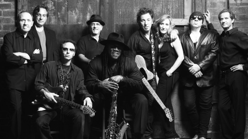The E Street Bank, a classic line-up with Max Weinberg at second left, and Roy Bittan at fourth left (Courtesy)