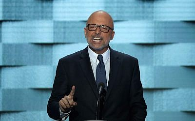 Rep. Ted Deutch on the fourth day of the Democratic National Convention at the Wells Fargo Center in Philadelphia, July 28, 2016. (Alex Wong/Getty Images via JTA)